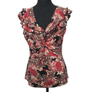 Susan Lawrence Petite Blouse Floral Sleeveless PXL
